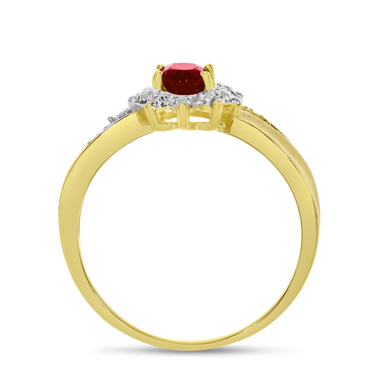 Color Merchants 14k Yellow Gold Oval Garnet And Diamond Ring
