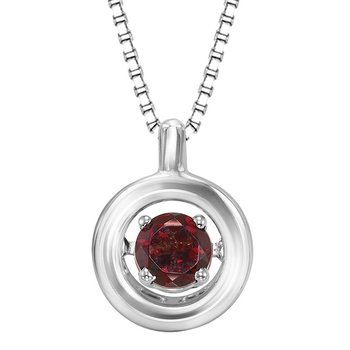 Silver Garnet Rhythm Of Love Pendant