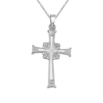 14K White Gold Large Cross Pendant