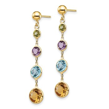 14K Multi-Gemstone Dangle Post Earrings