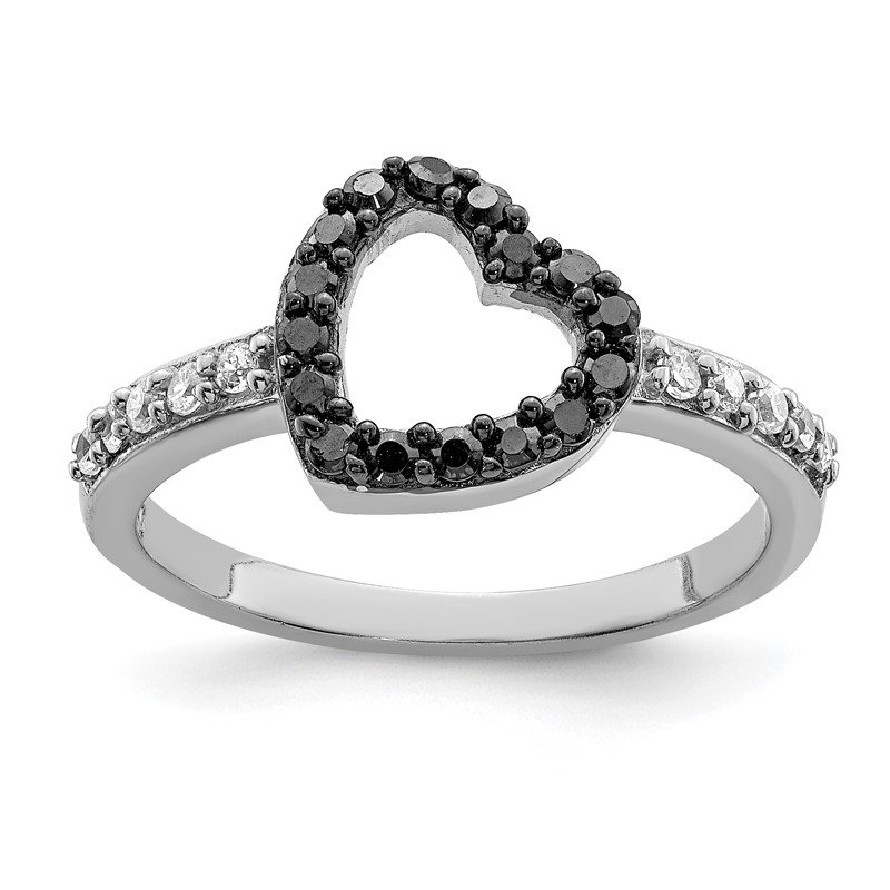 Quality Gold Sterling Silver Rhodium Black & White CZ Heart Ring