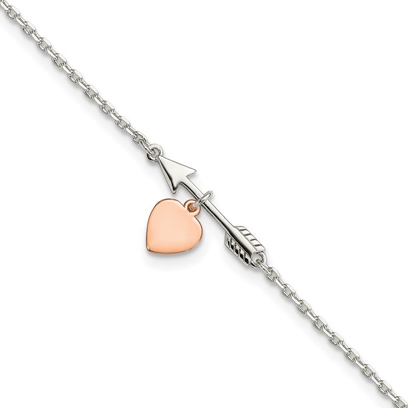 Sterling Silver Arrow with Rose-tone Heart 10in Plus 1 inch Ext Anklet