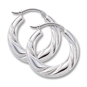 14kt Wh Twisted Hoop Earrings