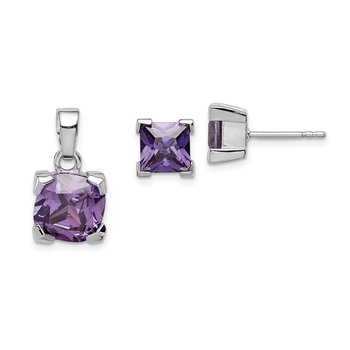 Sterling Silver Rhodium-plated Purple CZ Pendant and Earring Set