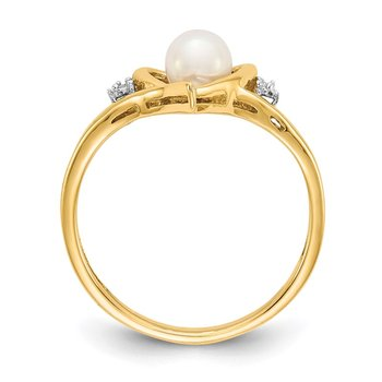 14k FW Cultured Pearl and Diamond Heart Ring