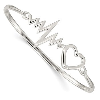 Sterling Silver Heartbeat Hinged Bangle