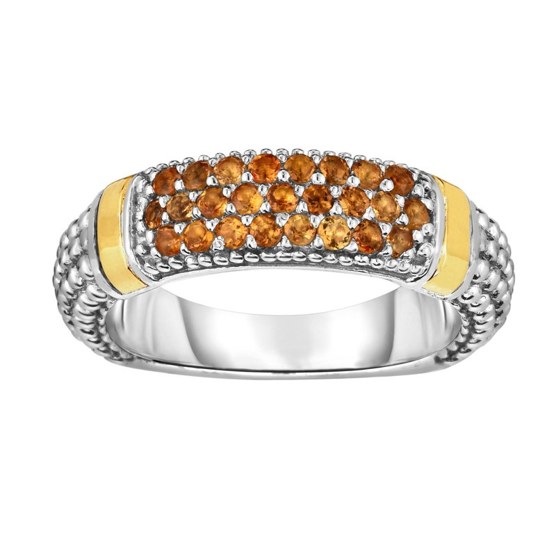 Royal Chain Silver & 18K Round Citrine Popcorn Ring