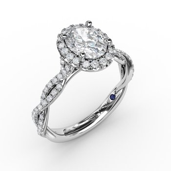 Oval Halo with Diamond Twist Shank
