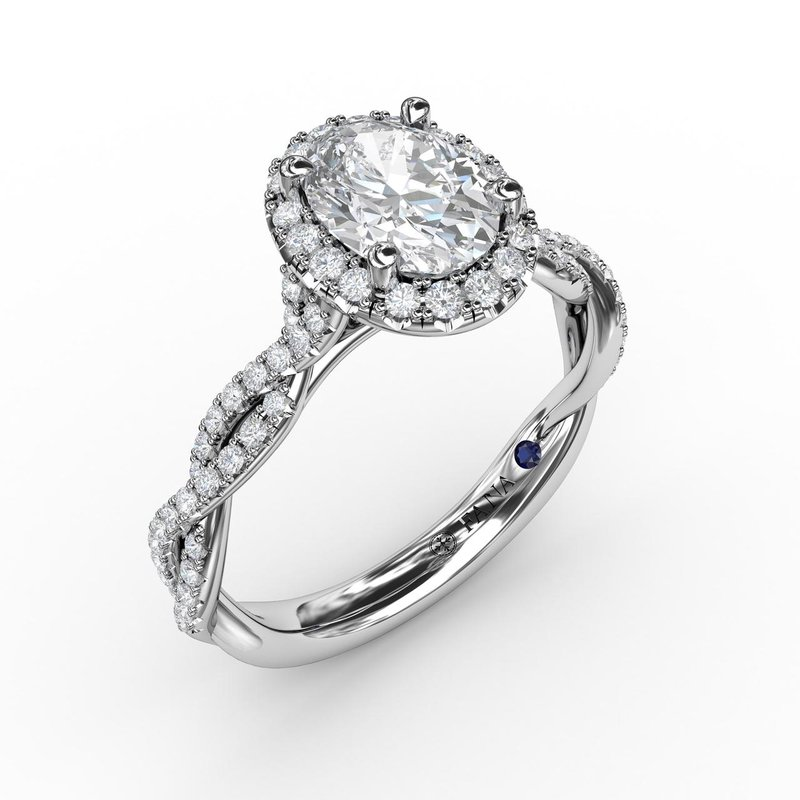 Fana Oval Halo with Diamond Twist Shank