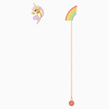 Out of this World Unicorn Earrings, Multi-colored, Gold-tone plated