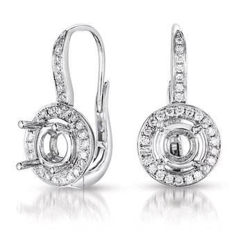 Halo Earring Setting For 2.0ct tw