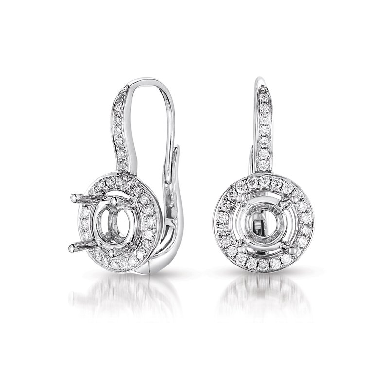 S. Kashi  & Sons Halo Earring Setting For 2.0ct tw