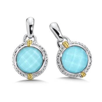 Sterling silver, 18k gold and turquoise fusion earrings