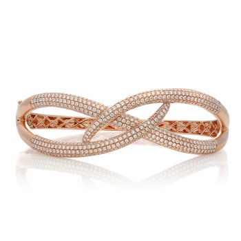 Rose Gold & Diamond Overlapping Bangle