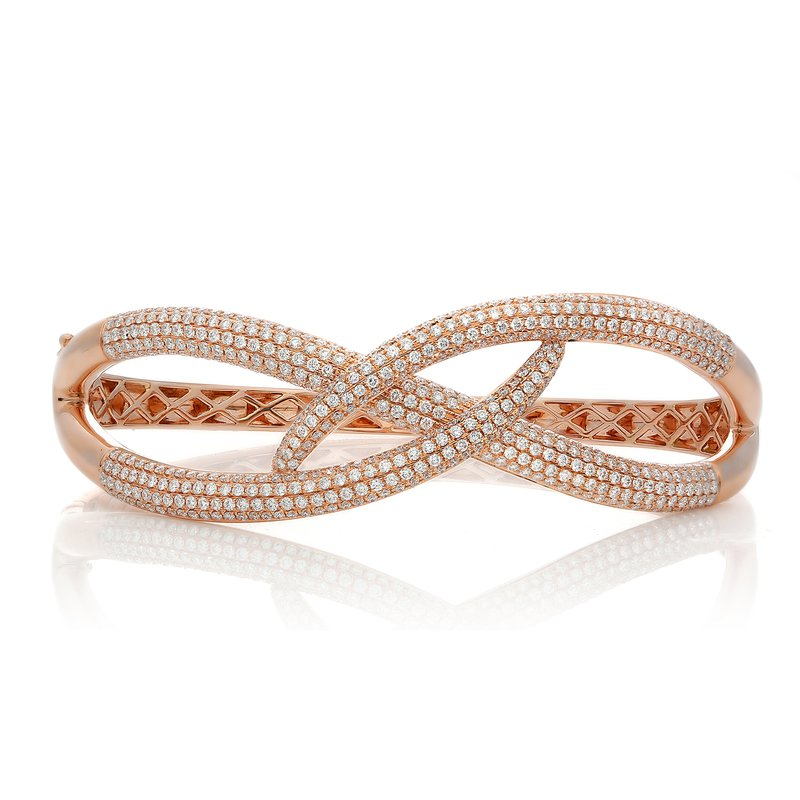 Roman & Jules Rose Gold & Diamond Overlapping Bangle