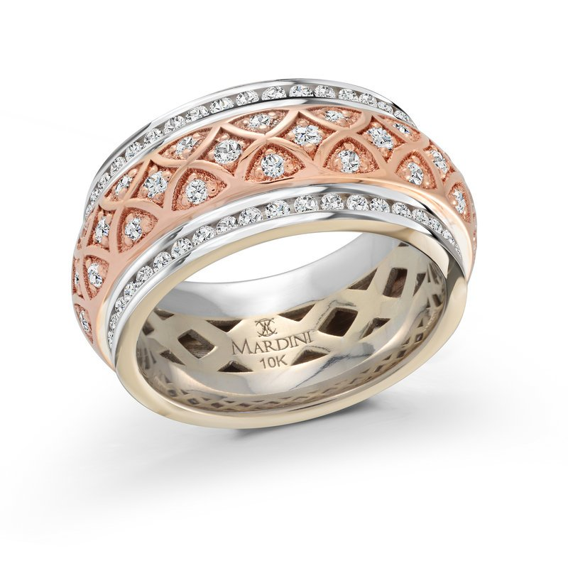 Mardini 9mm two-tone white and rose gold triangular center design diamond set center band, embelished with 122X0.01CT diamonds