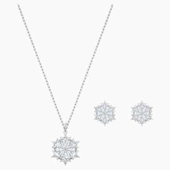 Magic Snowflake Set, White, Rhodium plated