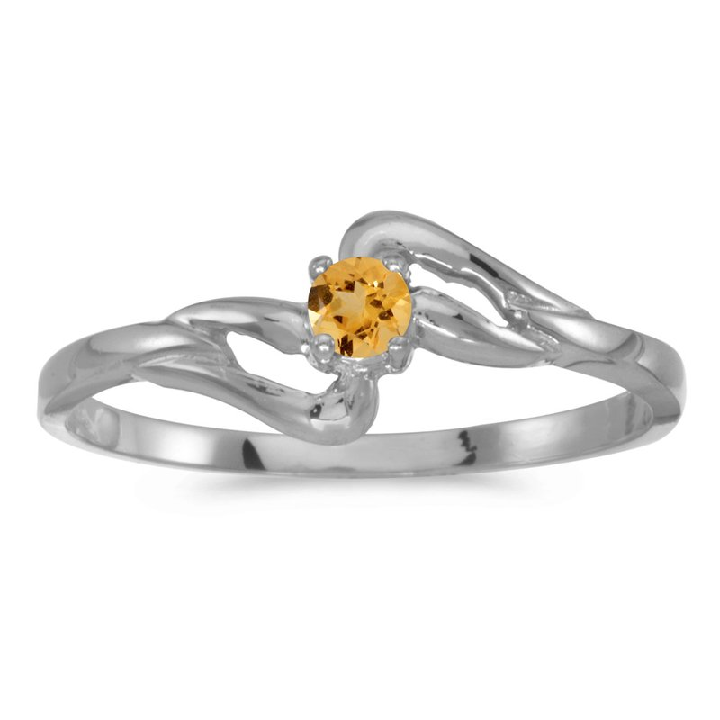 Color Merchants 10k White Gold Round Citrine Ring