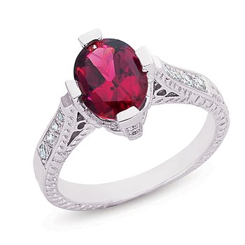 Rhodolite & Diamond Ring