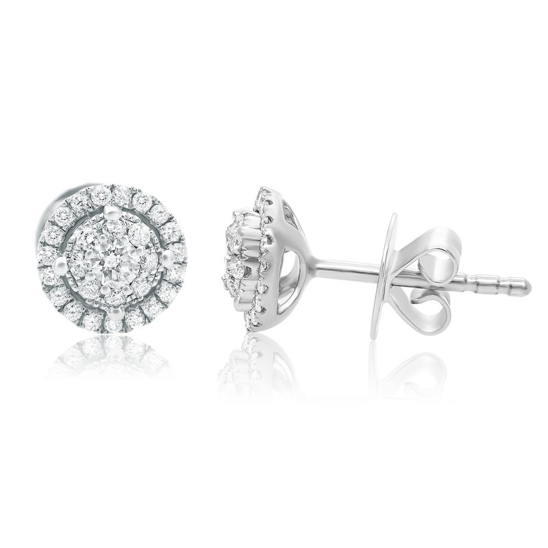 Roman & Jules Double Halo White Diamond Earrings