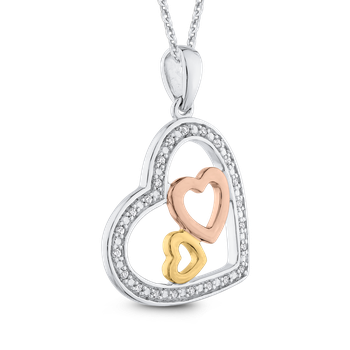 0.08 ct White Diamond Heart Pendant with Chain
