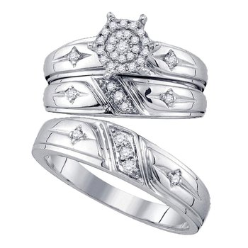 10kt White Gold His & Hers Round Diamond Cross Cluster Matching Bridal Wedding Ring Set 1/3 Cttw