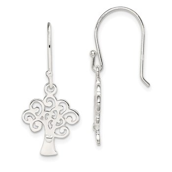 Sterling Silver Polished Tree Shepherd Hook Earrings