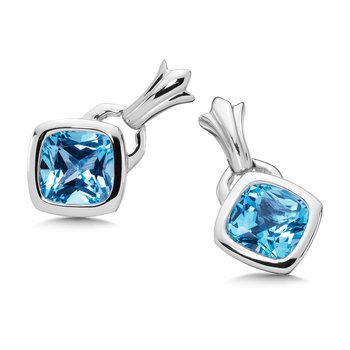 Sterling Silver Blue Topaz Fleur De Lis Post Earrings