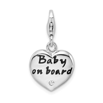 Sterling Silver RH Polished Enameled CZ Baby On Board Heart Charm