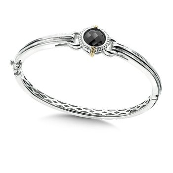 Sterling Silver 18K Gold and Onyx Bangle