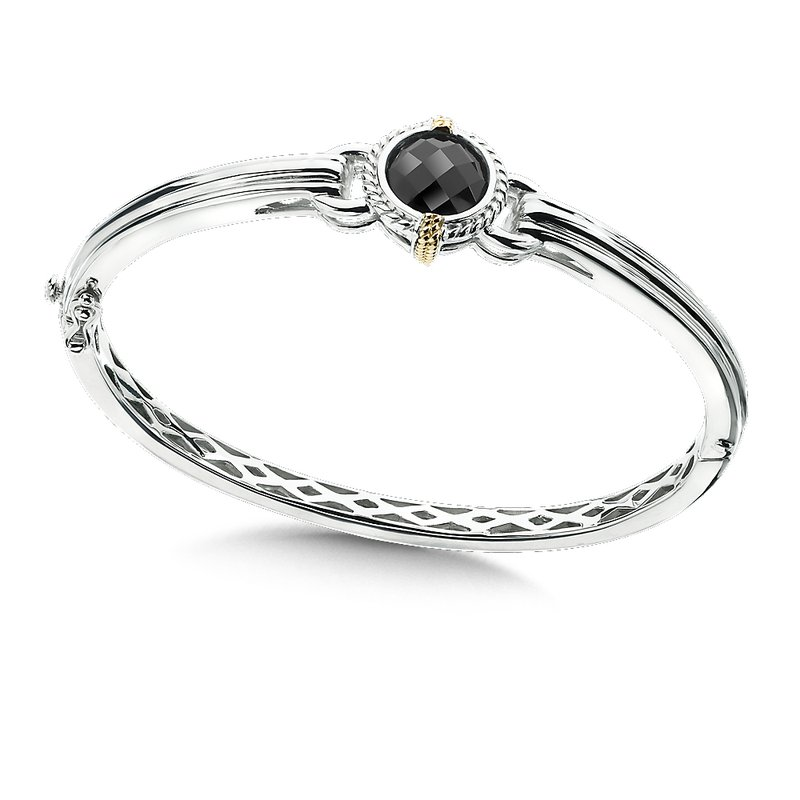 Colore Sg Sterling Silver 18K Gold and Onyx Bangle