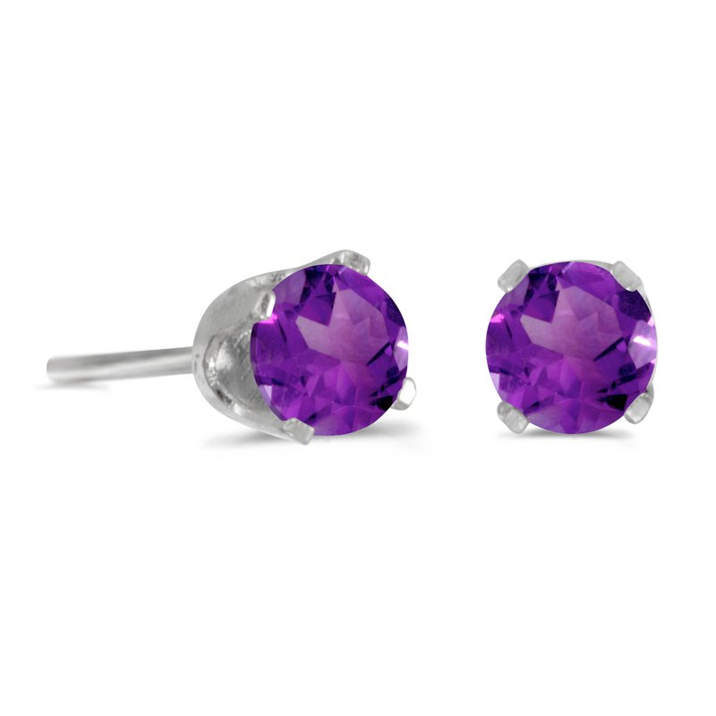 Color Merchants 14k White Gold 4 mm Round Natural Amethyst Stud Earrings