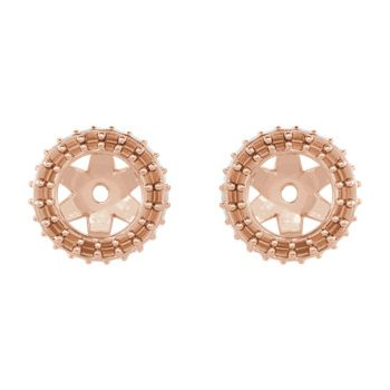 18K Rose 5 mm Round Earring Jacket Mounting