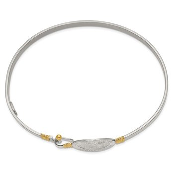 Sterling Silver w/14k Yellow Gold Accent St. Christopher Bangle