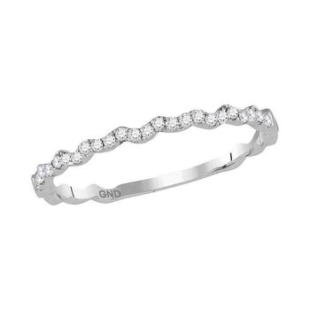 10kt White Gold Womens Round Diamond Slender Stackable Band Ring 1/8 Cttw