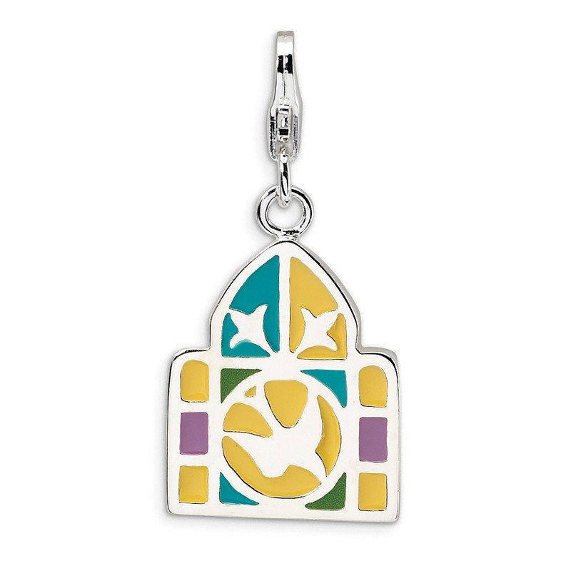 Quality Gold Sterling Silver 3-D Enameled Stain Glass Window w/Lobster Clasp Charm