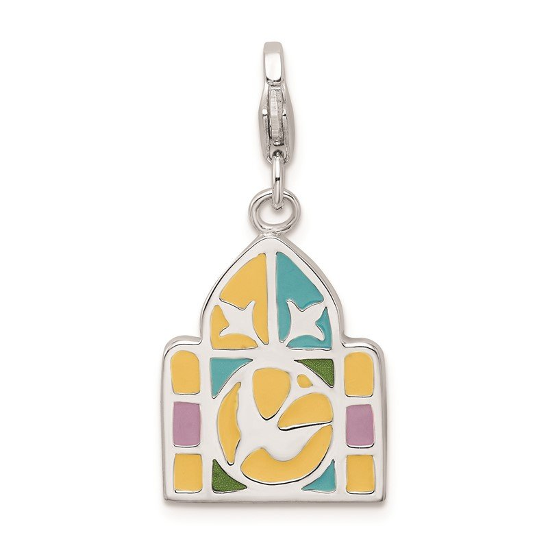Quality Gold SS RH 3-D Enameled Stain Glass Window w/Lobster Clasp Charm