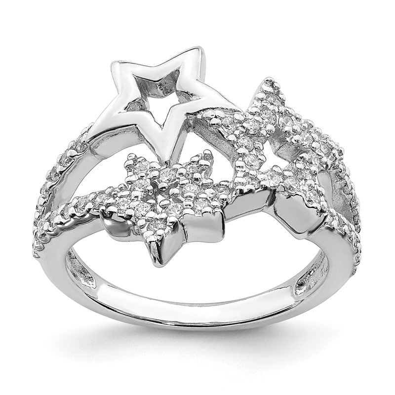 Quality Gold Sterling Silver Rhodium Plated CZ Triple Star Ring
