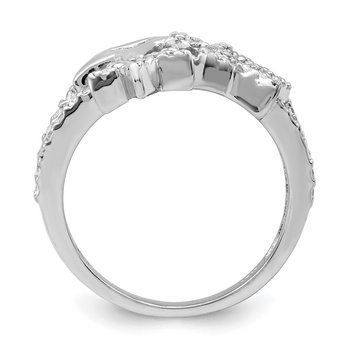 Sterling Silver Rhodium Plated CZ Triple Star Ring