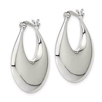 Sterling Silver Puffed Hoop Earrings