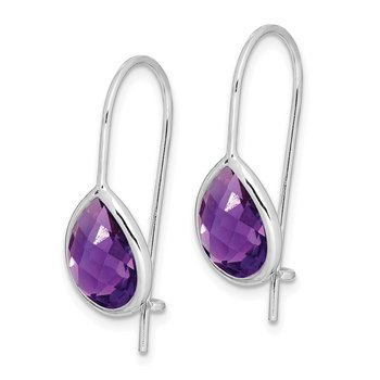 Sterling Silver Rhodium Plated Amethyst Teardrop Dangle Earrings