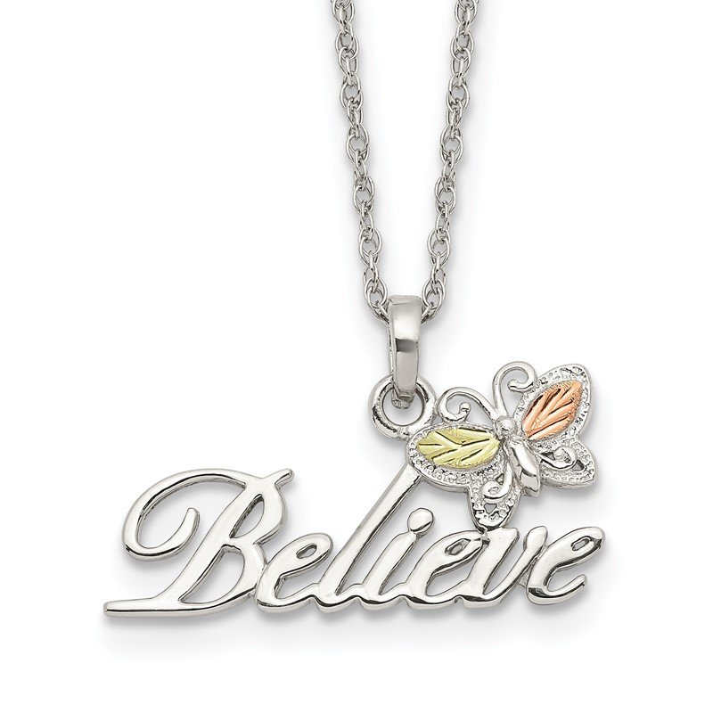 Quality Gold Sterling Silver & 12K Butterfly Believe Necklace
