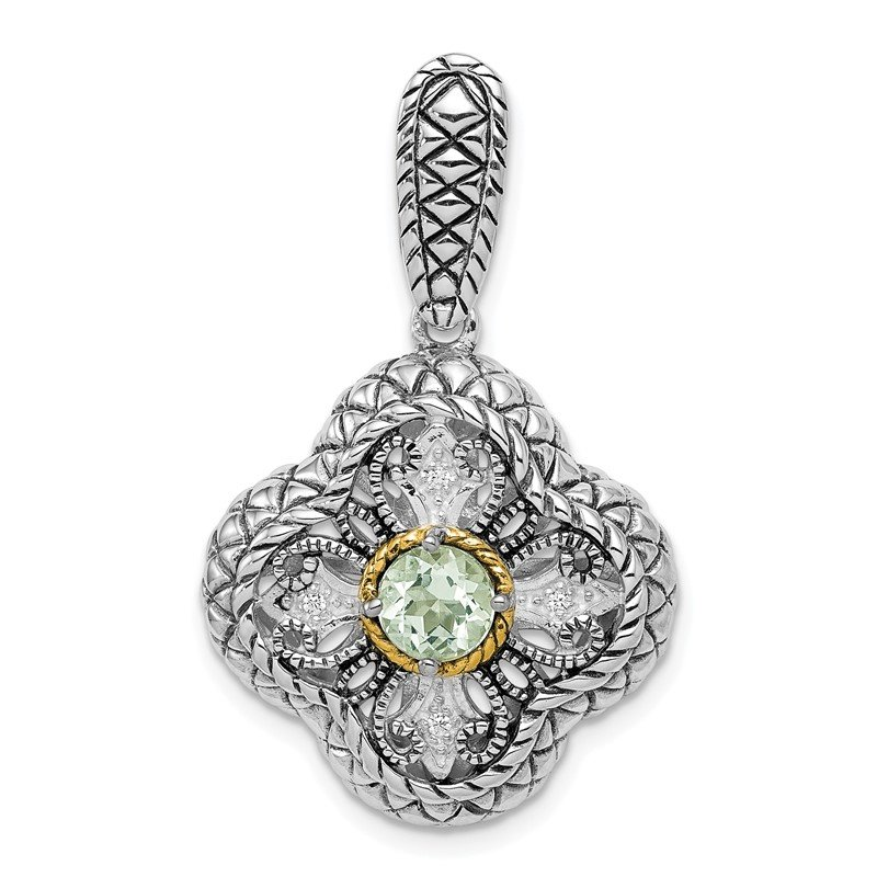 Quality Gold Sterling Silver Rhod. w/14k Gold Accent Qrtz & CZ Filigree Clover Pendant