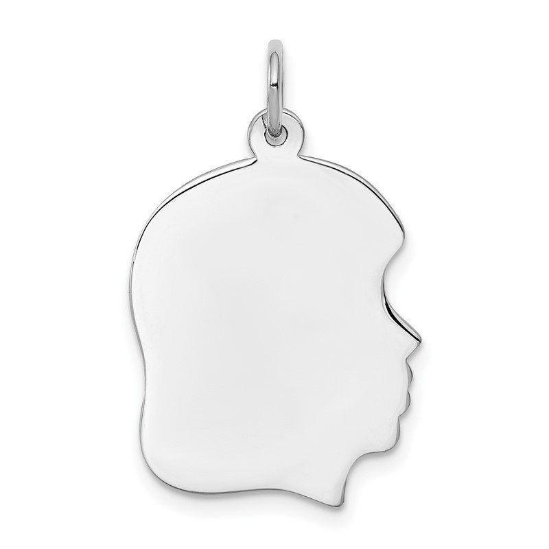 Quality Gold Sterling Silver Rhod-plate Eng. Girl Polish Front/Satin Back Disc Charm