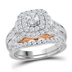 Bellissimo 14kt White Gold Womens Round Diamond Bellissimo Double Halo Bridal Wedding Engagement Ring Band Set 2.00 Cttw