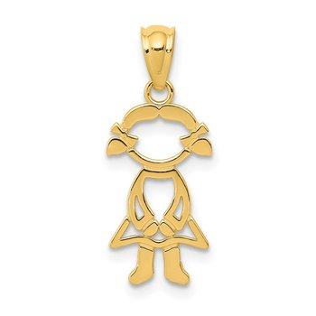 14k Polished Cut-out Girl Charm