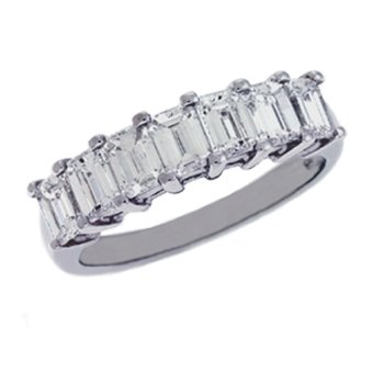 Emerald Cut Diamond Band Plat
