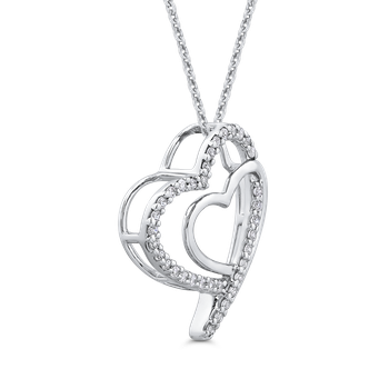 10K White Gold .14 Ct Diamond Heart Pendant with Chain
