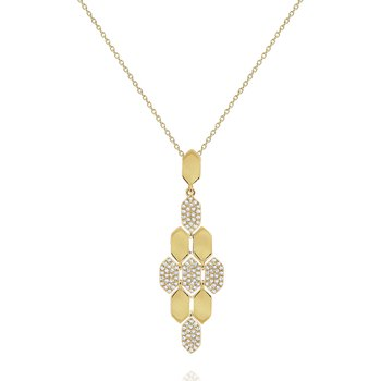Diamond Honeycomb Pendant Necklace Set in 14 Kt. Gold