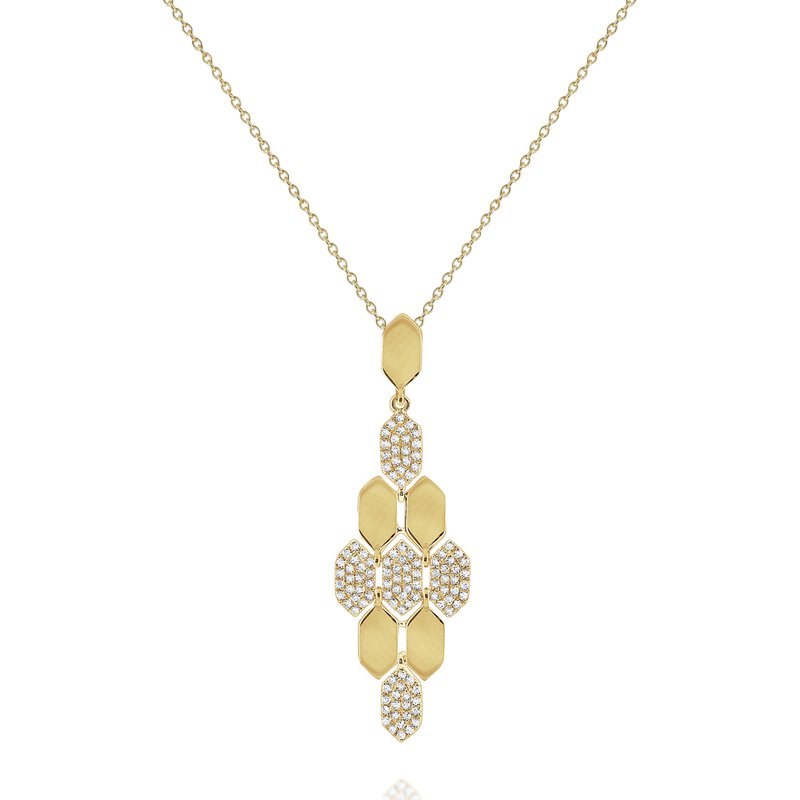 KC Designs Diamond Honeycomb Pendant Necklace Set in 14 Kt. Gold
